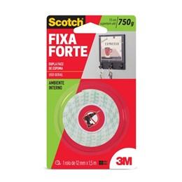 Fita Dupla Face 3M Scotch Fixa Forte Espuma 12 mm x 1,5 m