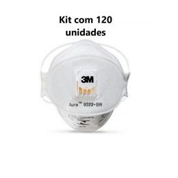 Kit com 120 - Respirador 3M AURA 9322 Branco PFF2 com Válvula