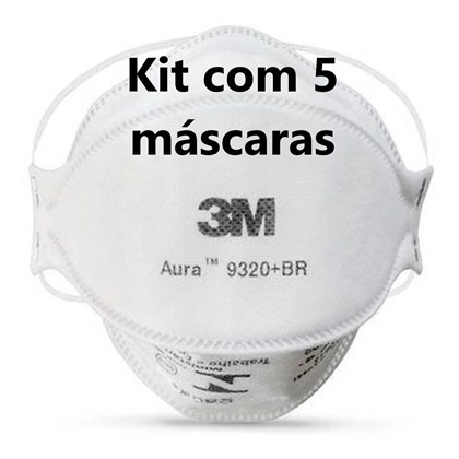 Kit com 5 - Respirador 3M Aura 9320+ Branco Pff2 #Hb004385173