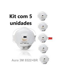 Kit com 5 - Respirador 3M AURA 9322 Branco PFF2 com Válvula