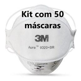 Kit com 50 - Respirador 3M Aura 9320+ Branco Pff2 #Hb004385173