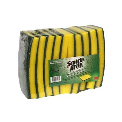 Pacote Esponjão Scoth Brite 3M verde amarela com 10 un